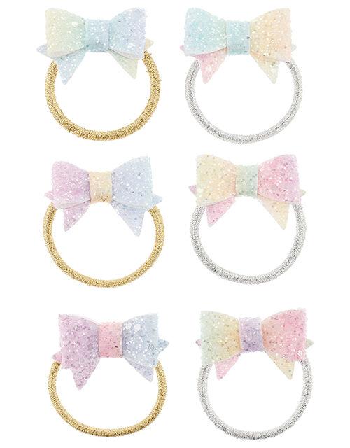 Rainbow Glitter Bow Hair Clip Set, , large