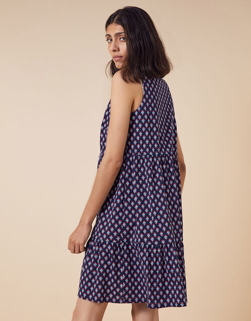 Printed Jersey Short Shirt Dress, Blue (NAVY), large