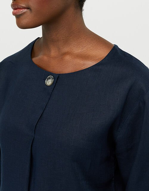 Scarlet Relaxed Blouse in Pure Linen, Blue (NAVY), large