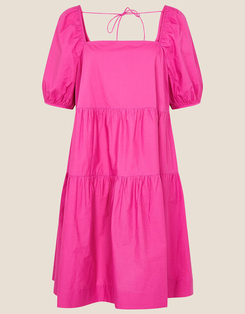 Tiered Dress in Organic Cotton, Pink (PINK), large