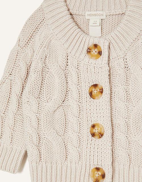 Newborn Cable Knit Cardigan, Cream (CREAM), large