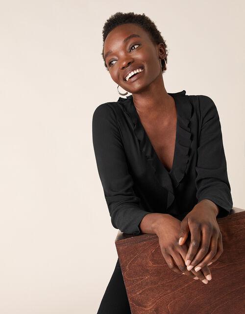 Ruffle Long Sleeve Blouse with LENZING™ ECOVERO™, Black (BLACK), large