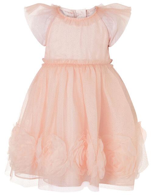 Baby 3D Glitter Rose Dress, Pink (PINK), large