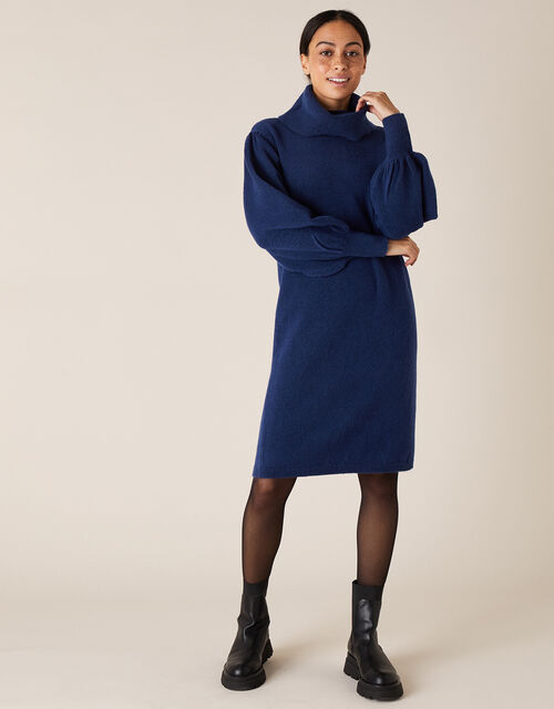 Roll Neck Knit Dress, Blue (DARK BLUE), large