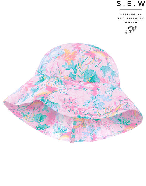 Baby Dinah Fish Print Sunsafe Hat with Recycled Polyester, Pink (PALE PINK), large
