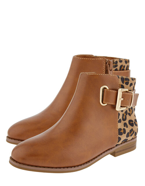 Mollie Leopard Ankle Boots, Tan (TAN), large