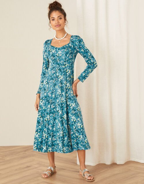 Amanza Ditsy Floral Jersey Dress, Teal (TEAL), large