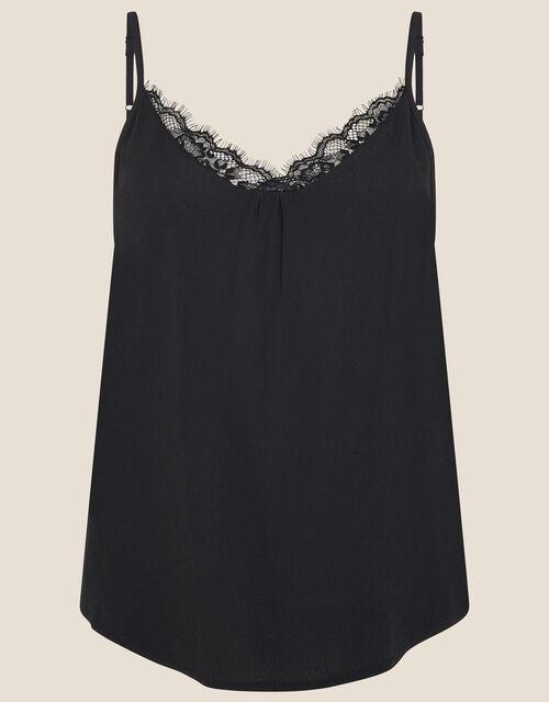 Lace Trim Cami with LENZING™ ECOVERO™, Black (BLACK), large