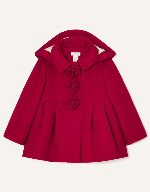 Baby Corsage Hooded Swing Coat, Red (RED), large