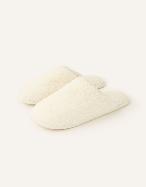 Fluffy Mule Slippers Ivory, Ivory (IVORY), large