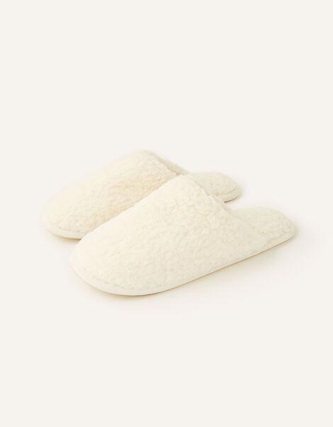 Fluffy Mule Slippers Ivory, Ivory (IVORY), large