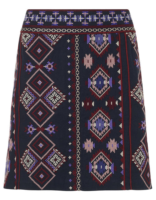 Embroidered Mini Skirt in Organic Cotton , Blue (NAVY), large