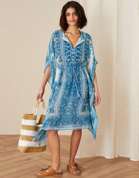 Roxanna Printed Katfan Blue, Blue (BLUE), large