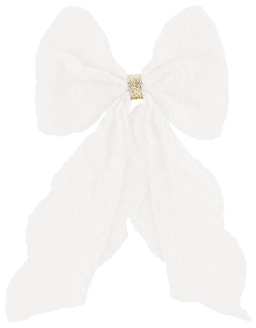 Lacey Long Tie Bow Hair Clip , , large