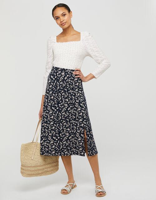 Natty Ditsy Floral Midi Skirt, Blue (NAVY), large