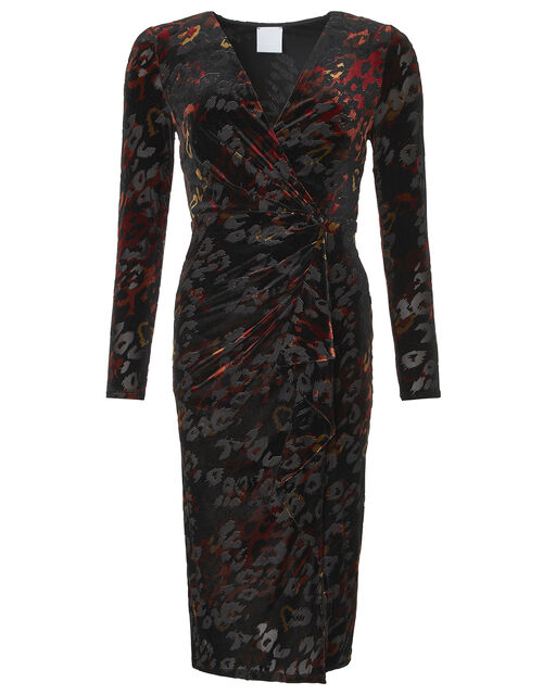 Val Devore Animal Print Dress, Black, large