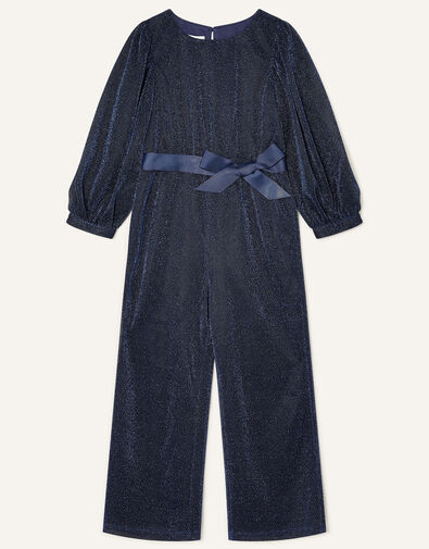 Erin Sparkle Long Sleeve Jumpsuit Blue, Blue (NAVY), large