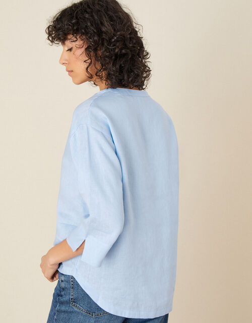 Linen V-neck Top, Blue (BLUE), large