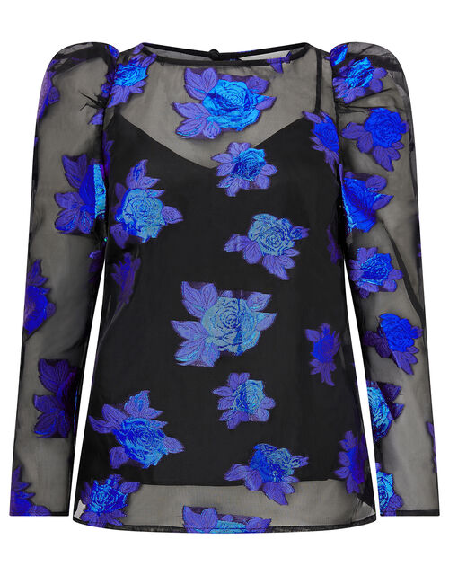 Ophelia Floral Organza Blouse, Blue (BLUE), large