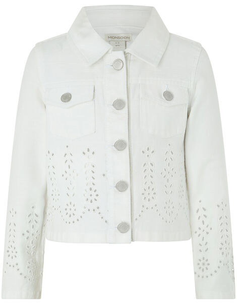 Missy Schiffli Denim Jacket White, White (WHITE), large