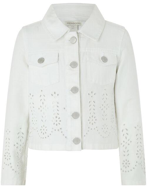 Missy Schiffli Denim Jacket, White (WHITE), large