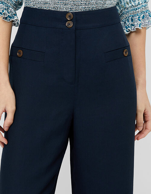 Charlotte Regular Length Trousers in Linen Blend, Blue (NAVY), large