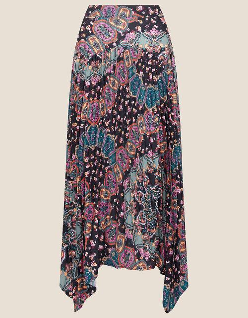 Printed Hanky Skirt, Black (BLACK), large