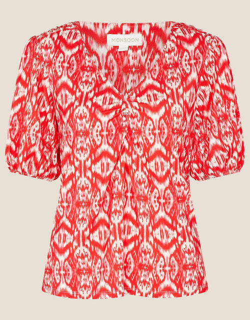 Ikat Printed Jersey Top, Red (RED), large