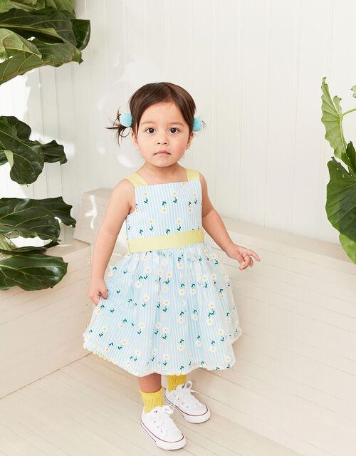 Baby Daisy Stripe Dress, Blue (BLUE), large
