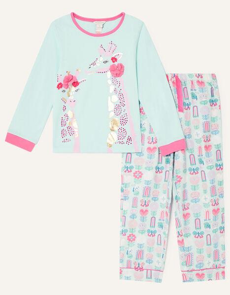 Gwyneth Giraffe Pyjama Set Blue, Blue (AQUA), large