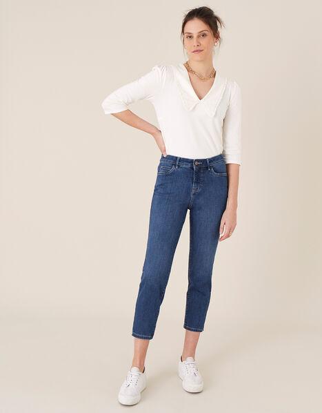 Safaia Crop Jeans with Organic Cotton Blue, Blue (DENIM BLUE), large