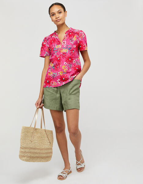 Dhana Floral Top in Linen and Organic Cotton Pink, Pink (PINK), large
