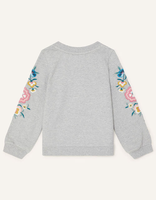 Floral Embroidered Sweatshirt , Camel (OATMEAL), large