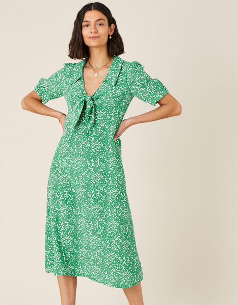 Leila Printed Midi Dress  Green, Green (GREEN), large