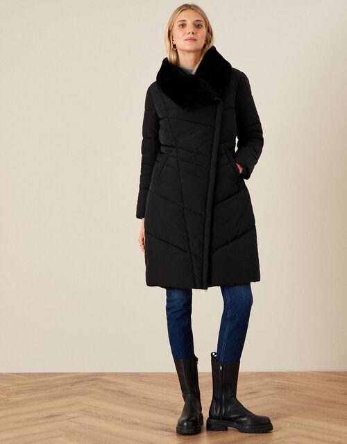 Beverley Faux Fur Collar Coat, Black (BLACK), large