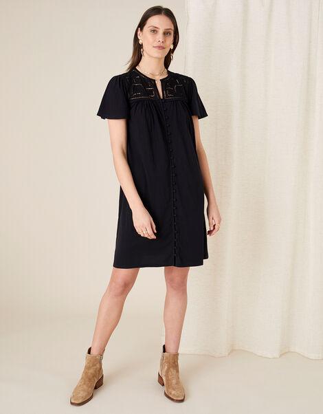 Brooke Lace and Jersey Dress  Black, Black (BLACK), large