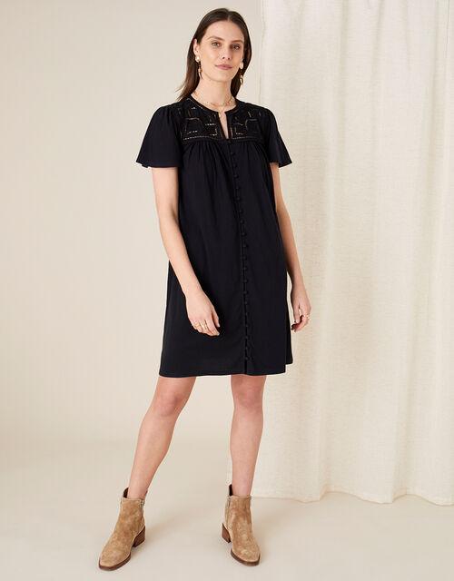 Brooke Lace and Jersey Dress , Black (BLACK), large