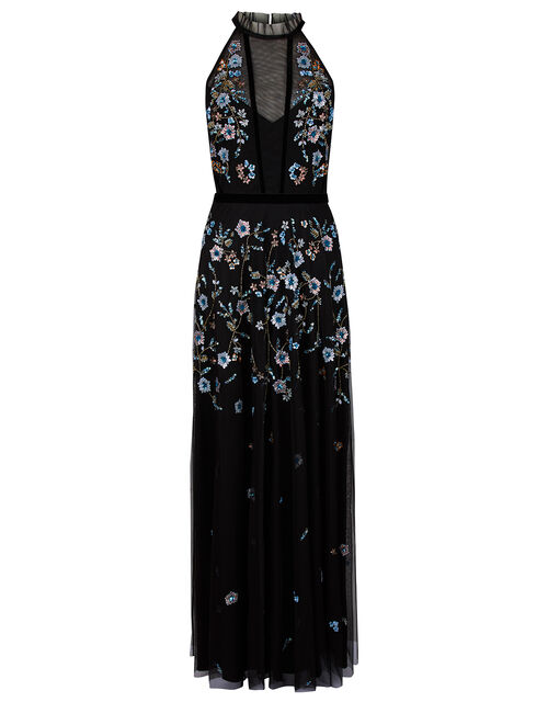 Antonia Floral Embellished Maxi Dress in Recycled Fabric, Black (BLACK), large