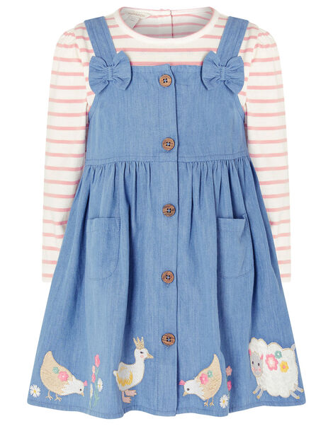 Baby Duck Denim Pinafore Set Blue, Blue (BLUE), large