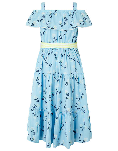 Chloe Floral Tiered Maxi Dress in Recycled Fabric, Blue (BLUE), large
