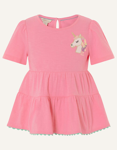 Sequin Unicorn Tiered T-Shirt, Pink (PINK), large