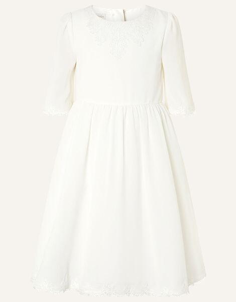 Lace Trim Crepe Tunic Dress Ivory, Ivory (IVORY), large