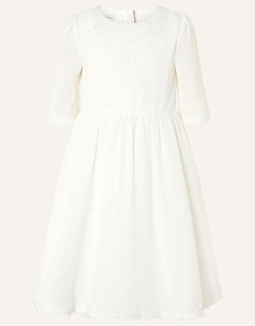 Lace Trim Crepe Tunic Dress, Ivory (IVORY), large