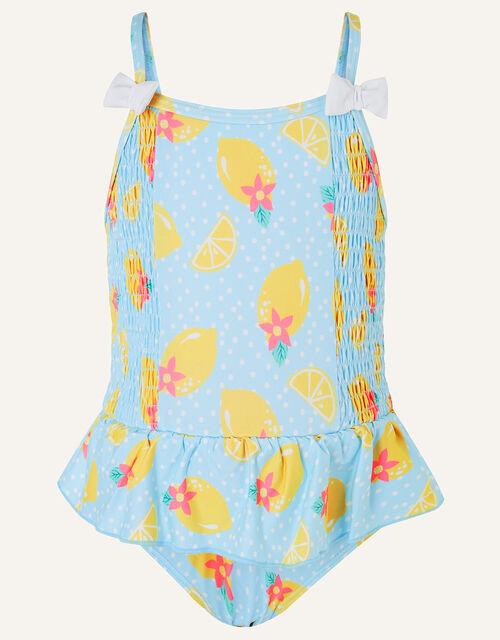 Baby Lemon Print Swimsuit, Blue (BLUE), large