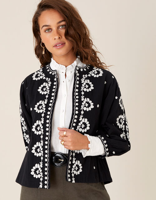 Floral Embroidered Jacket in Organic Cotton, Black (BLACK), large