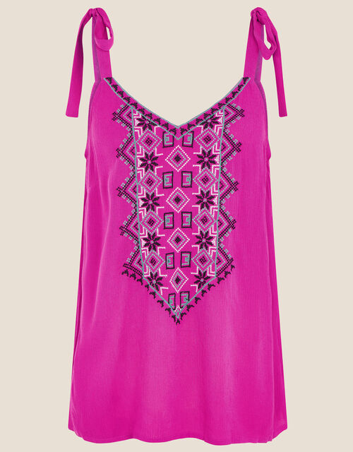 Lana Embroidered Cami Top, Pink (PINK), large