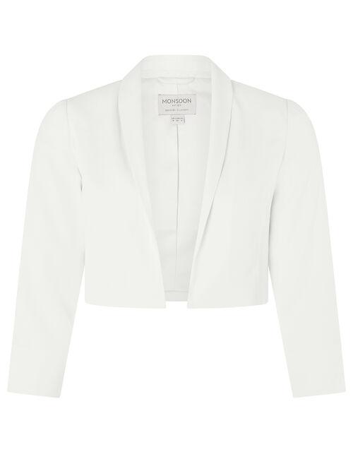 Juni Sustainable Cropped Smart Jacket, Ivory (IVORY), large