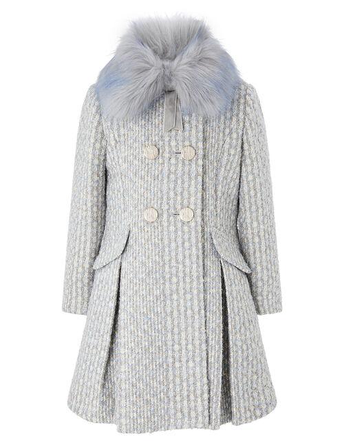 Sparkle Tweed Skirted Coat, Blue (BLUE), large
