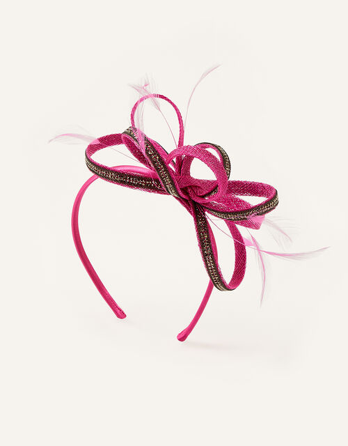 Embellished Loops Fascinator Headband, Pink (FUCHSIA), large