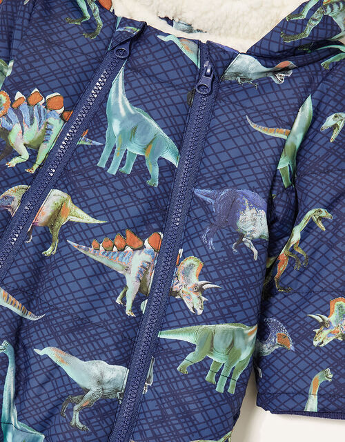 Dino Print Pramsuit, Blue (NAVY), large